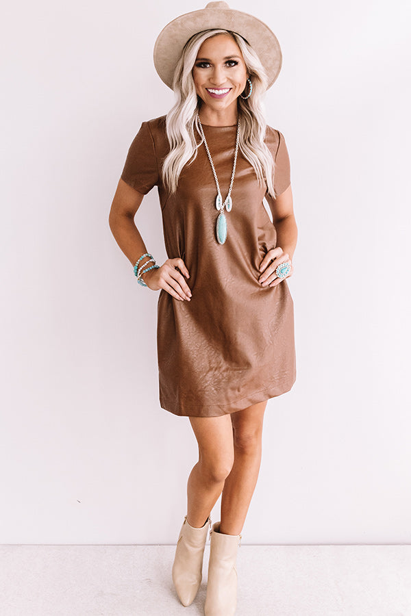 Going The Distance Faux Leather Dress