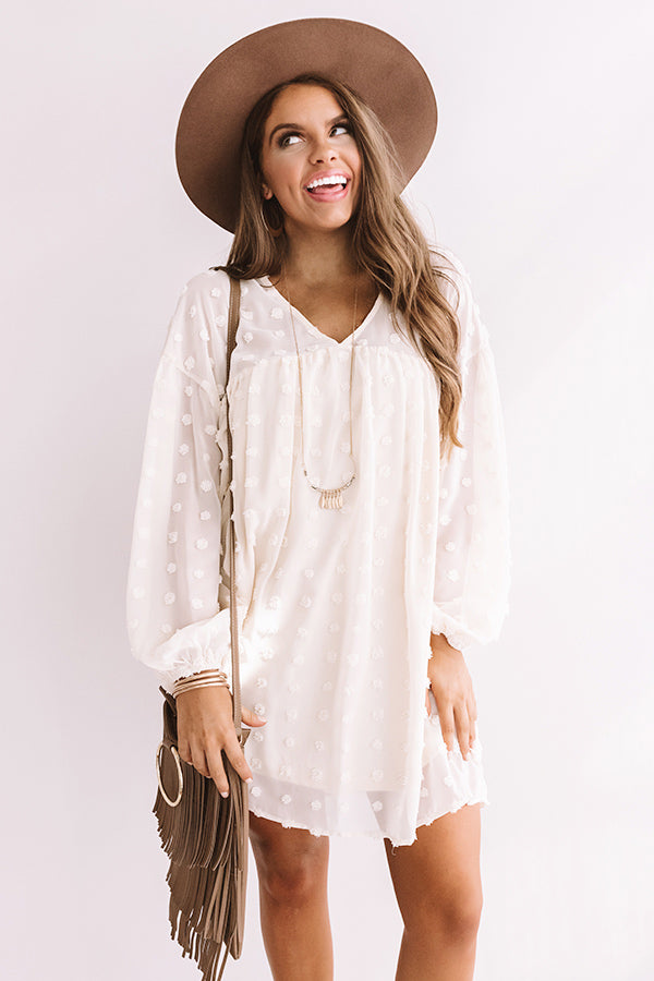 Spot On Babydoll Shift Dress in Cream