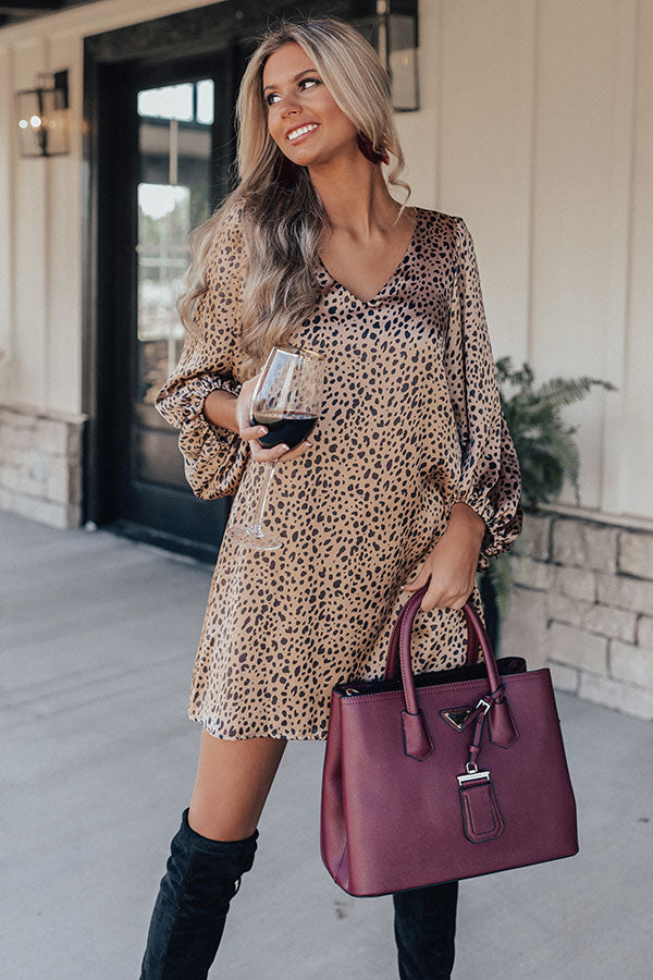 Darling Dance Leopard Shift Dress In Iced Latte