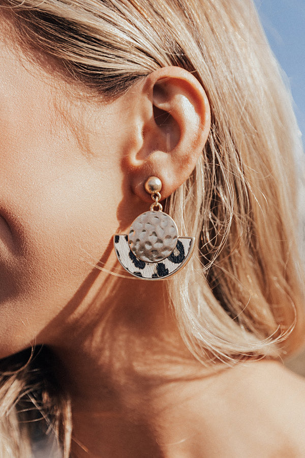 Adorable Details Leopard Earrings In Ivory