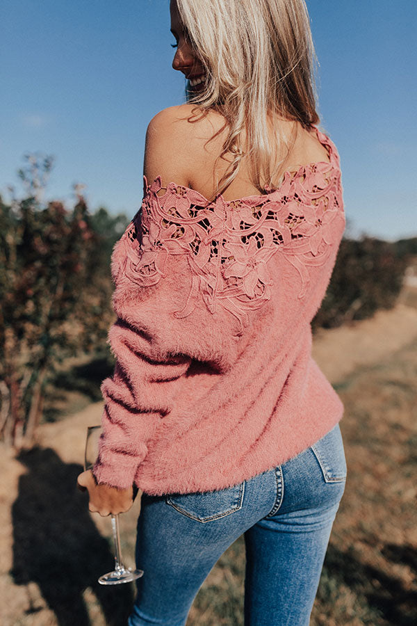Snow In Paris Crochet Trim Sweater in Blush