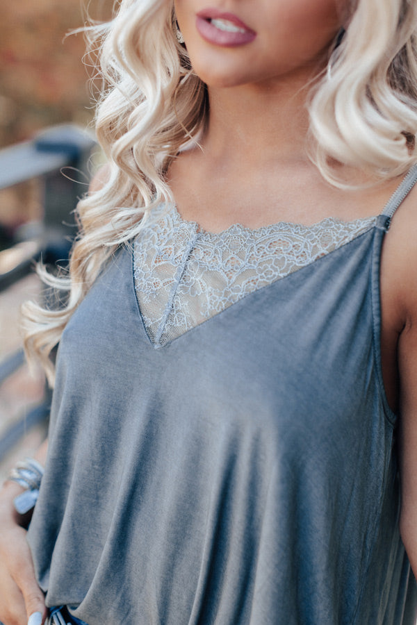 Loving Life Lace Shift Tank In Dark Grey