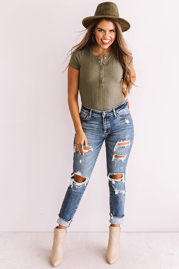Cool Look Ribbed Bodysuit In Olive