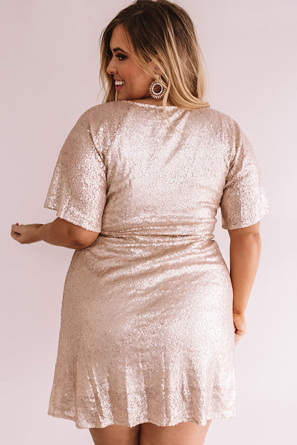 Nightlife Luxury Sequin Wrap Dress In Champagne