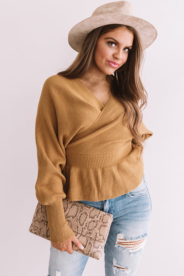 Soho Situation Faux Wrap Sweater Top In Mustard