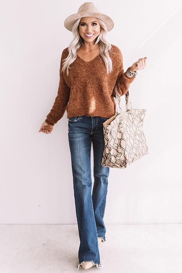 Happy Expressions Chenille Sweater In Copper