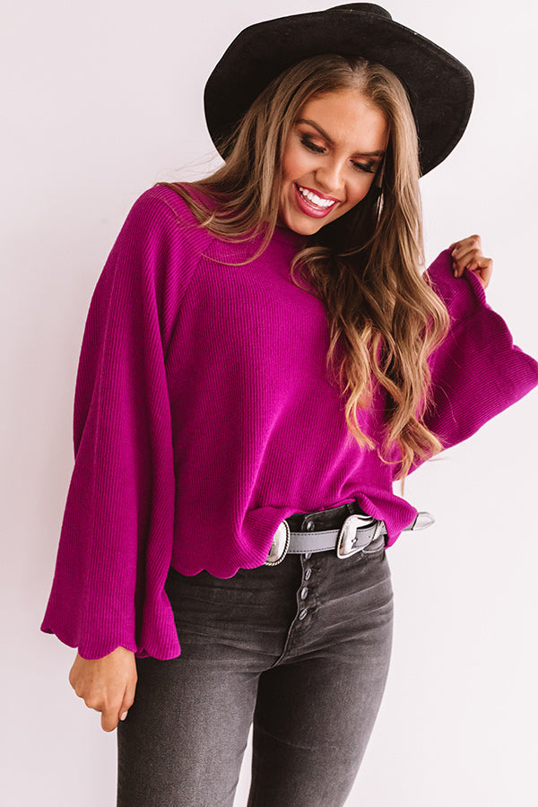 Twice As Nice Ribbed Shift Sweater In Orchid