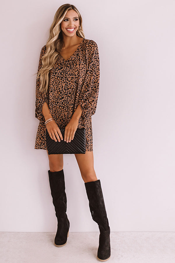 Darling Dance Shift Dress In Brown