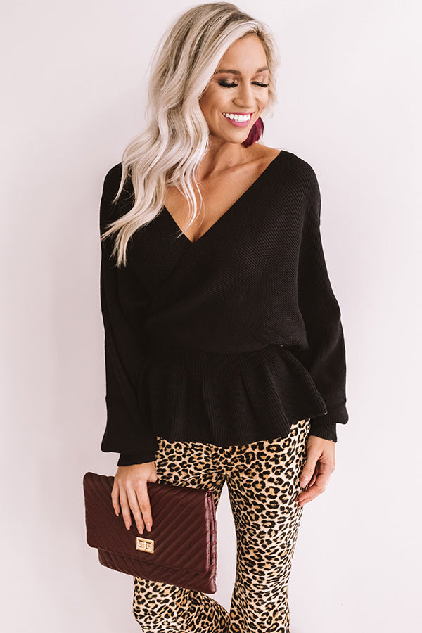 Soho Situation Faux Wrap Sweater Top In Black