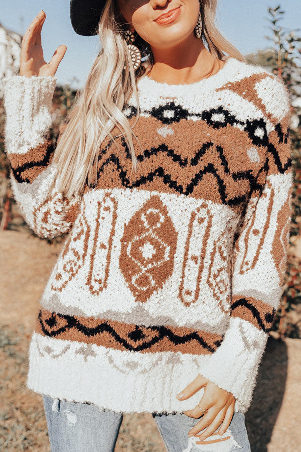 Cider Smiles Knit Sweater In Brown