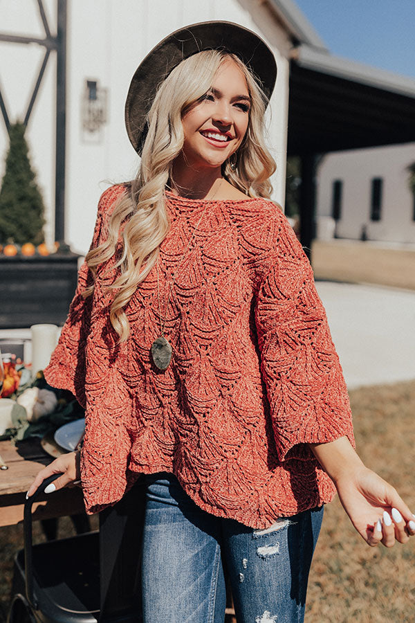 Cozy Dawn Chenille Knit Sweater In Rust