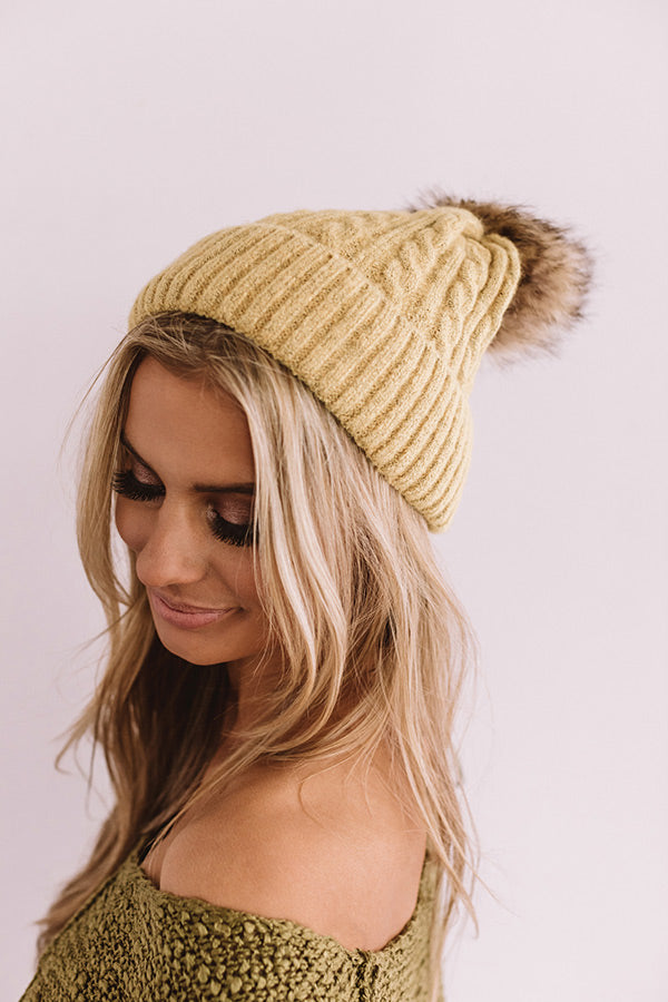 In The Know Faux Fur Pom Beanie In Primrose Yellow