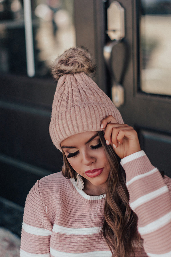 In The Know Faux Fur Pom Beanie In Latte