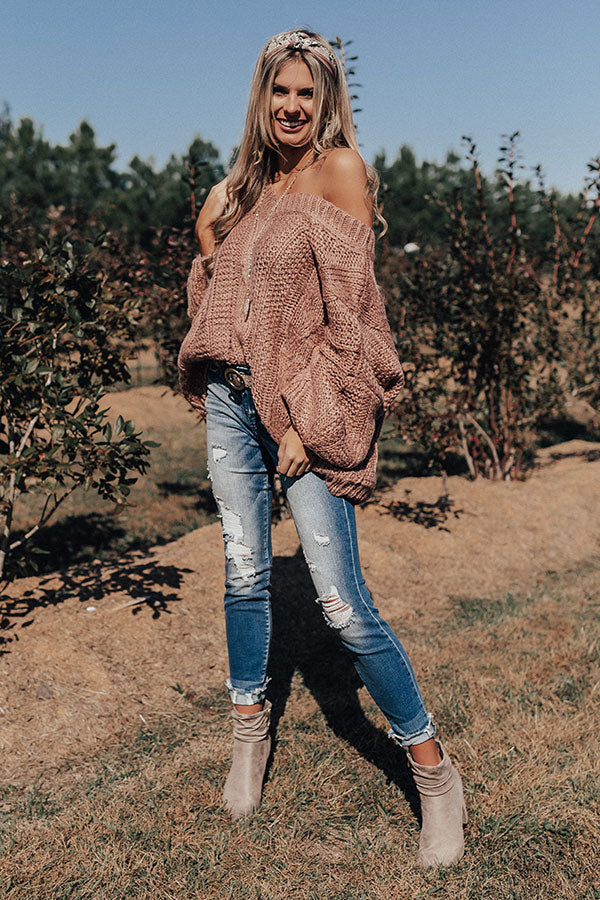Definitely Adorable Cable Knit Sweater In Blush