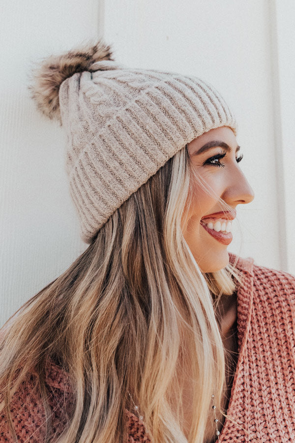 In The Know Faux Fur Pom Beanie In Birch