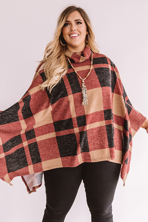 Snow Delightful Plaid Poncho