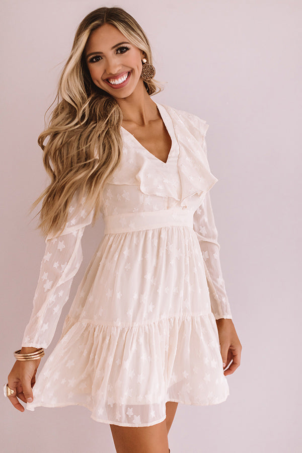 Can't Stop The Kisses Shift Dress In Cream