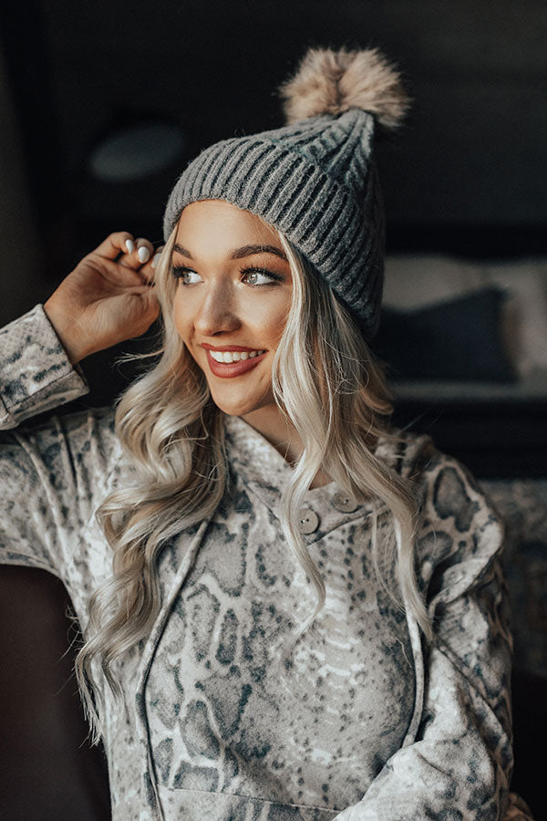 In The Know Faux Fur Pom Beanie In Dark Grey