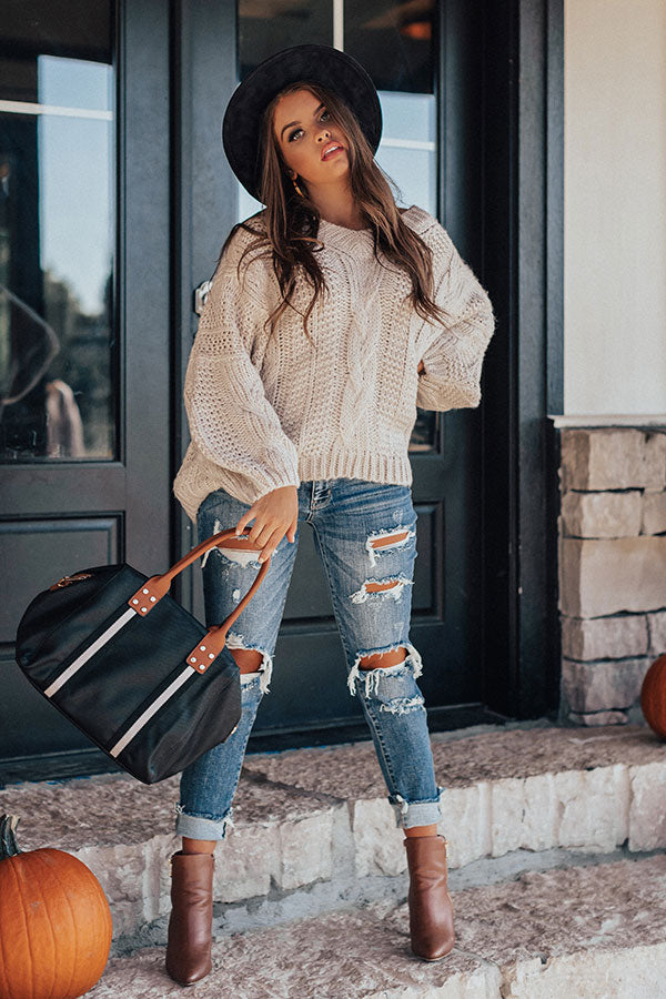 Definitely Adorable Cable Knit Sweater In Stone