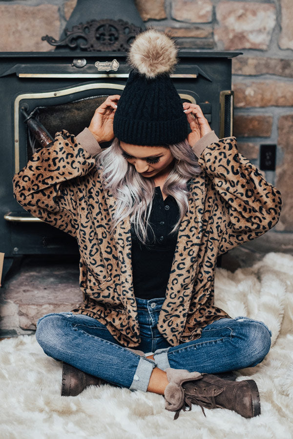 In The Know Faux Fur Pom Beanie In Black