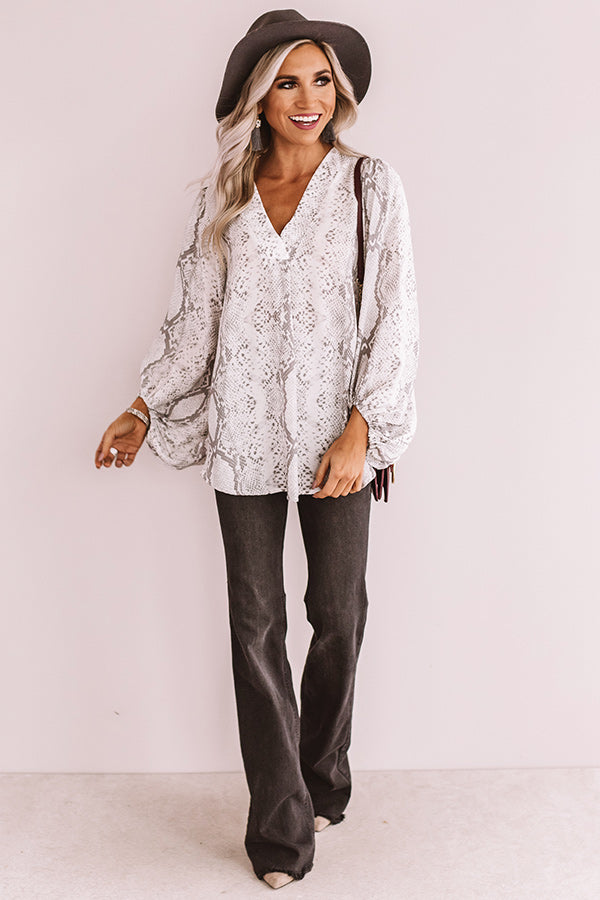 Livin' On The Edge Snake Print Top In Grey