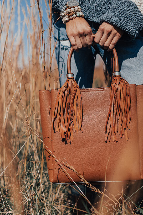 Style Profile Faux Leather Tote In Cinnamon