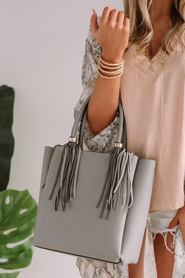Style Profile Faux Leather Tote In Grey
