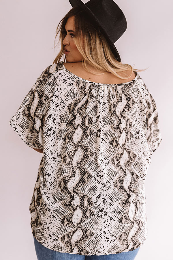 Hide And Seek Snake Print Shift Top In Cream