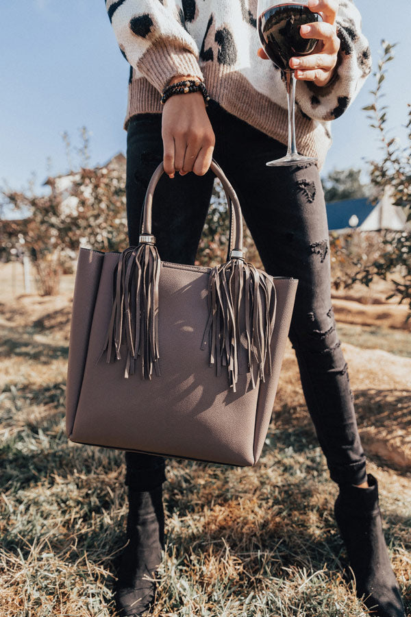 Style Profile Faux Leather Tote In Dark Taupe