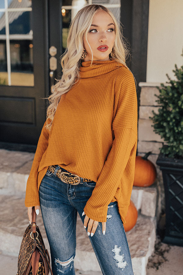PSL Craving Waffle Knit Sweater in Pumpkin