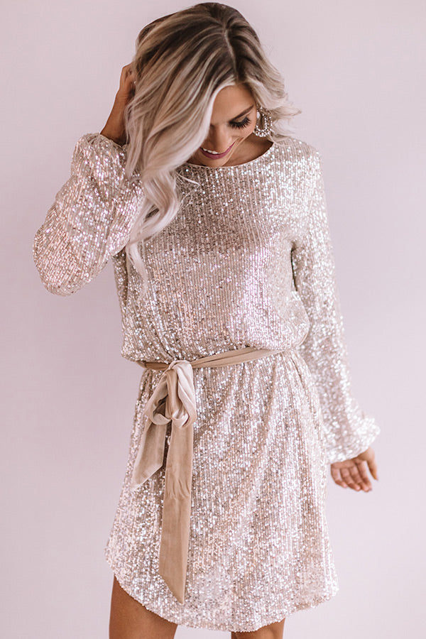 Ritz And Glitz Sequin Dress in Champagne