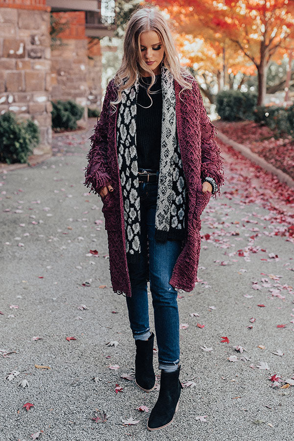 Cute On Repeat Knit Cardigan in Windsor Wine