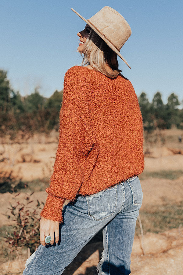 A Side Of Cozy Popcorn Knit Sweater in Rust
