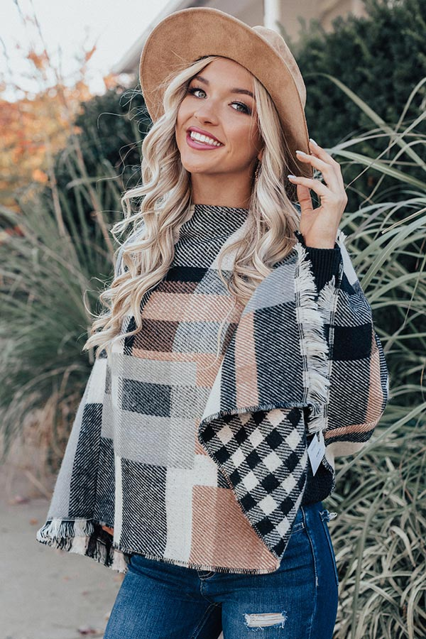 Blog About It Plaid Poncho in Black