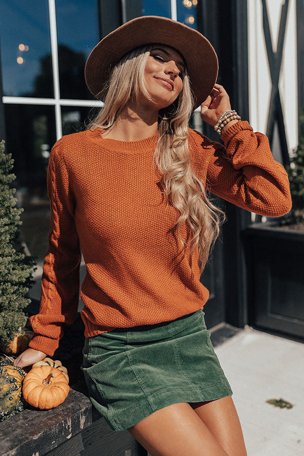 Sipping Cocoa Knit Sweater in Rust