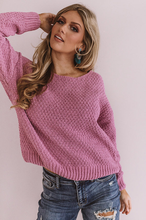 Cocoa Stroll Chenille Sweater In Blush