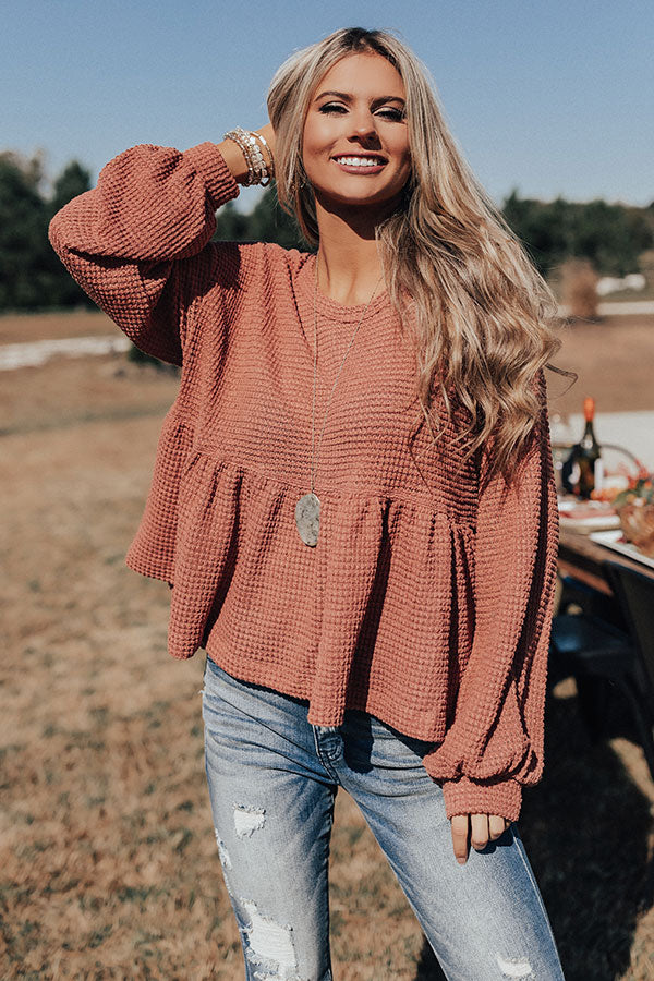 Bring It On Waffle Knit Shift Top In Rustic Rose