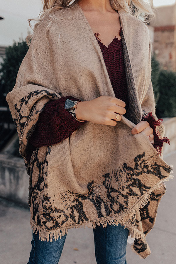 Warmest Welcome Snake Print Poncho