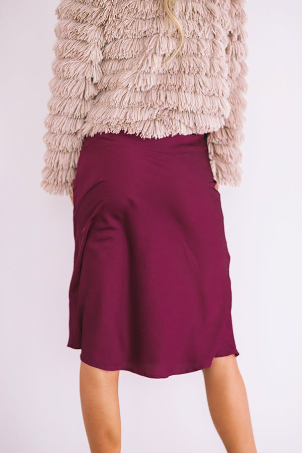 Evening Adventure Satin Skirt In Windsor Wine
