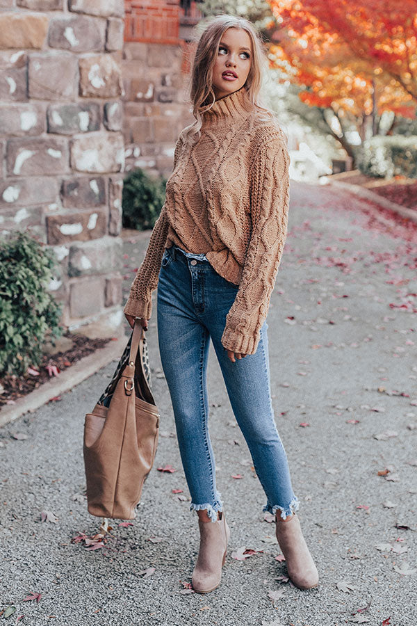Pure Sweetness Cable Knit Sweater In Iced Latte