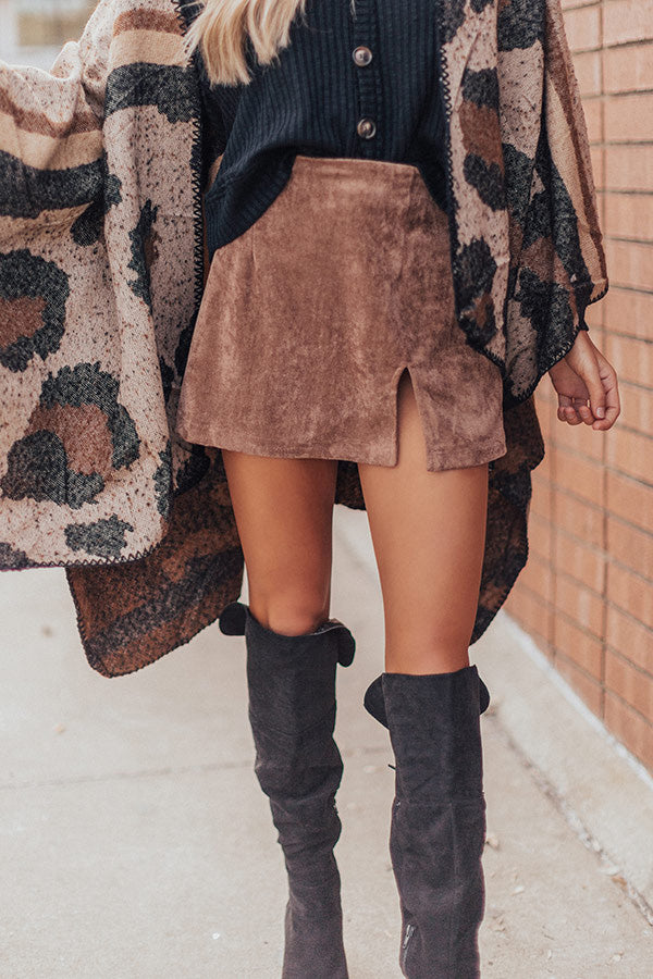 Name Dropper Faux Suede Skirt In Mocha