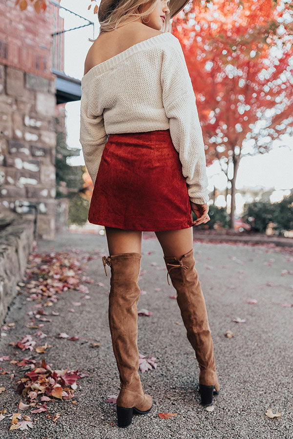 Name Dropper Faux Suede Skirt In Aurora Red