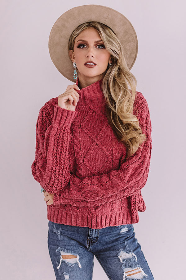 Pure Sweetness Cable Knit Sweater In Dark Blush