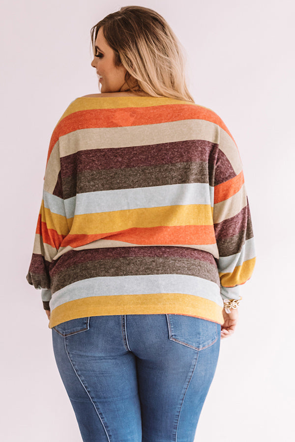 Kisses And Cabins Stripe Shift Sweater In Green