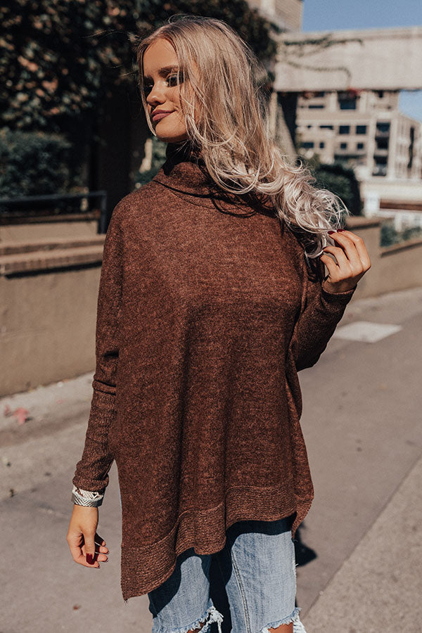 Time For Cozy Sweater In Brown