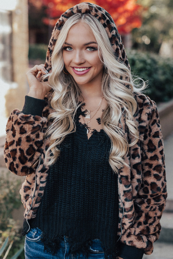Forever On My Heart Plush Leopard Jacket