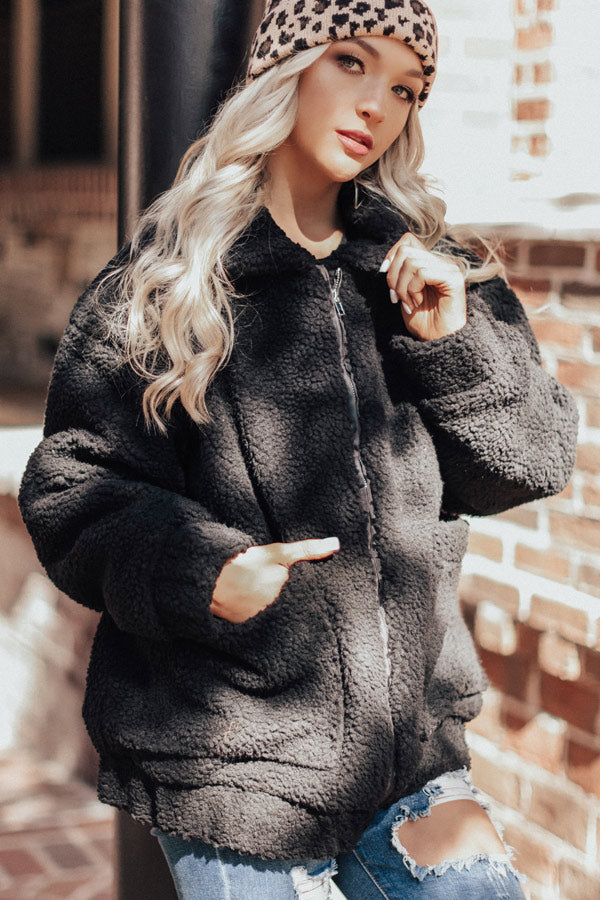 Full Of Cuddles Sherpa Jacket In Black