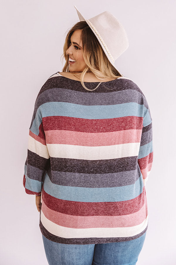Kisses And Cabins Stripe Shift Sweater In Blue