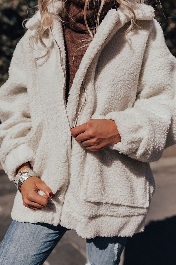 Full Of Cuddles Sherpa Jacket In White