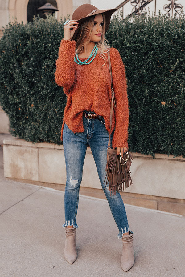 Toasty Vibes Knit Sweater In Rust